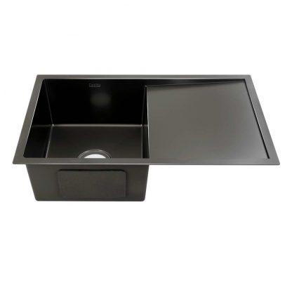 Cefito Kitchen Sink Nano Stainless Steel Single Bowl Black Laundry 750x450mm