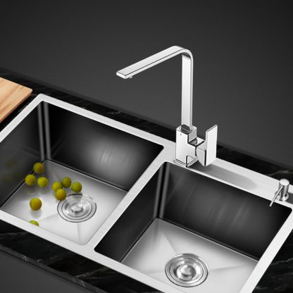 Cefito Stainless Steel Kitchen Sink 800x450MM Double Bowl Sinks Laundry Strainer