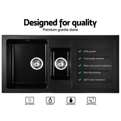 Cefito 1000 x 500mm Granite Stone Double Sink - Black