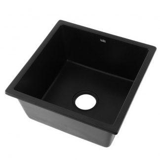 Cefito Kitchen Sink Stone Granite Laundry Top/Undermount Singe Black 450x450mm