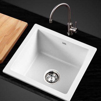 Cefito Kitchen Sink Granite Stone Laundry Top or Undermount Single White 450x450mm