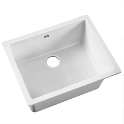 Cefito Granite Stone Kitchen Laundry Sink Bowl Top or Under mount 610x470mm White