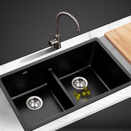 Cefito Stone Granite Kitchen Sink Double Bowl Top Undermount 790x460mm Black