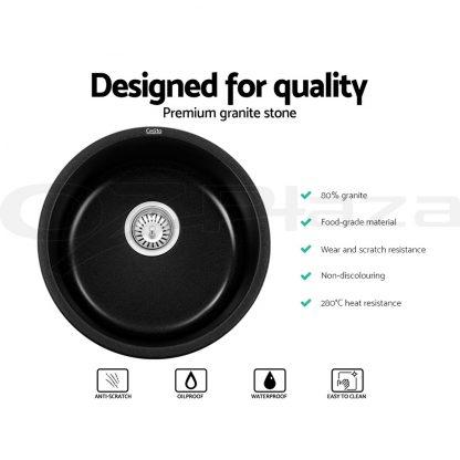 Cefito Granite Stone Kitchen Laundry Sink Bowl Top or Under mount Round 430x200mm Black