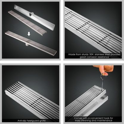 Cefito Bathroom 800mm Stainless Steel Shower Grate