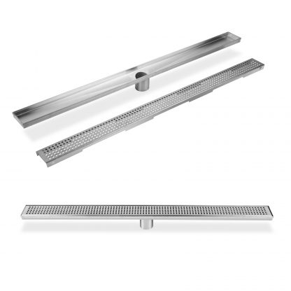 800mm Stainless Steel Shower Grate Tile Drain Square Bathroom Home