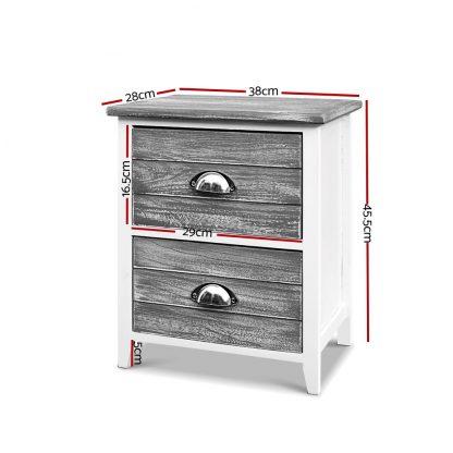 Artiss 2x Bedside Table Nightstands 2 Drawers Storage Cabinet Bedroom Side Grey