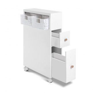 Artiss Bathroom Storage Toilet Cabinet Caddy Holder Drawer Basket Wheels White