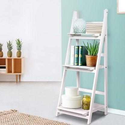 Artiss Display Shelf 3 Tier Wooden Ladder Stand Storage Book Shelves Rack White