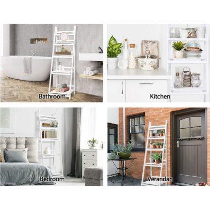 Artiss Display Shelf 5 Tier Wooden Ladder Stand Storage Book Shelves Rack White