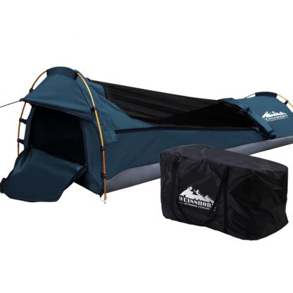 Weisshorn Biker Swag Single Camping Swags Navy Water Resistant Ripstop Canvas