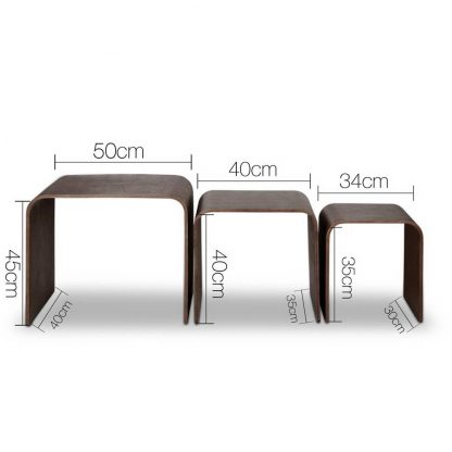 Artiss Set of 3 Wooden Coffee Table - Walnut