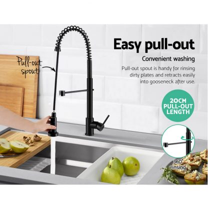 Cefito Pull Out Kitchen Tap Mixer Basin Taps Faucet Vanity Sink Swivel Brass WEL In Black