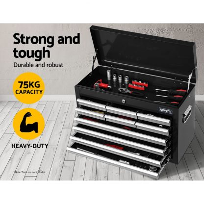 Giantz 10-Drawer Tool Box Chest Cabinet Garage Storage Toolbox Black Silver
