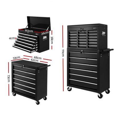 Giantz Tool Box Chest Trolley 16 Drawers Cabinet Cart Garage Toolbox Black