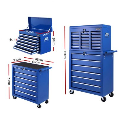 Giantz Tool Box Chest Trolley 16 Drawers Cabinet Cart Garage Toolbox Blue