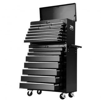 Giantz 17 Drawers Tool Box Trolley Chest Cabinet Cart Garage Mechanic Toolbox Black