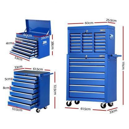 Giantz 17 Drawers Tool Box Trolley Chest Cabinet Cart Garage Mechanic Toolbox Blue