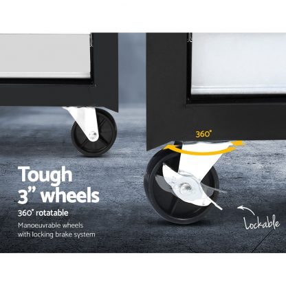 Giantz 5 Drawer Mechanic Tool Box Storage Trolley - Black & Grey