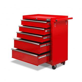 Giantz 5 Drawer Mechanic Tool Box Storage Trolley - Red