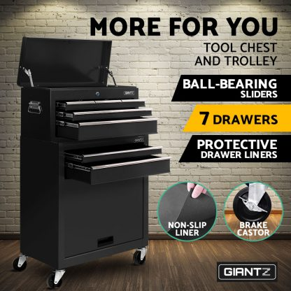 Giantz 7 Drawer Tool Box Cabinet Chest Storage Garage Toolbox Organiser Set Black