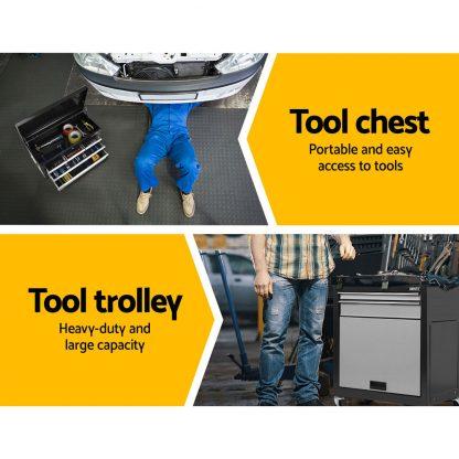 Giantz 7 Drawer Tool Box Cabinet Chest Storage Garage Toolbox Organiser Set Black and Grey