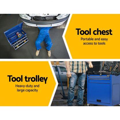 Giantz 7 Drawer Tool Box Cabinet Chest Storage Garage Toolbox Organiser Set Blue