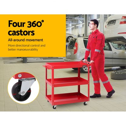 Giantz Tool Cart 3 Tier Parts Steel Trolley Mechanic Storage Organizer Red