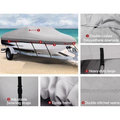 16 - 18.5 foot Waterproof Boat Cover - Grey