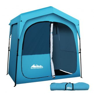Weisshorn Pop Up Camping Shower Tent Portable Toilet Outdoor Change Room Blue