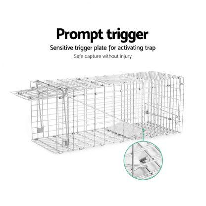 Humane Animal Trap Cage 66 x 23 x 25cm - Silver