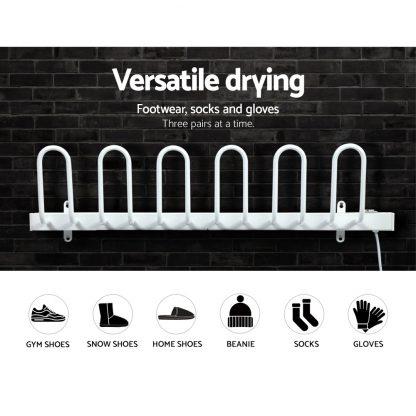 DEVANTI Electric Heated Shoes Warmer Socks Dryer Bathroom Racks Rails Gloves Sterilizer Heater 3 Pairs White