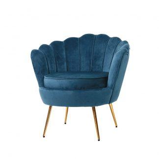 Artiss Armchair Lounge Chair Accent Retro Armchairs Lounge Shell Velvet Navy