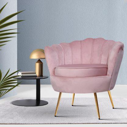 Artiss Armchair Lounge Chair Accent Armchairs Retro Single Sofa Velvet Pink