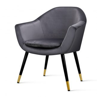 Artiss Armchair Accent Chair Retro Wooden Armchairs Single Sofa Velvet Seat Grey