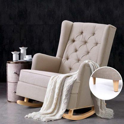 Artiss Rocking Armchair Feedining Chair Fabric Armchairs Lounge Recliner Beige
