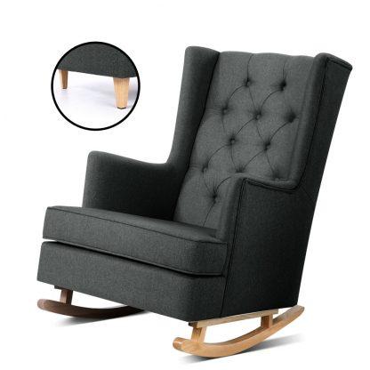 Artiss Rocking Armchair Feeding Chair Fabric Armchairs Lounge Recliner Charcoal