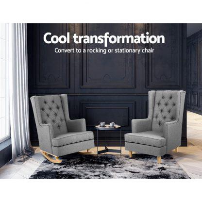Artiss Rocking Armchair Feeding Chair Linen Fabric Armchairs Lounge Retro Grey