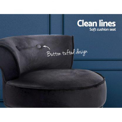 Artiss Velvet Vanity Stool Backrest Stools Dressing Table Chair Makeup Bedroom Black