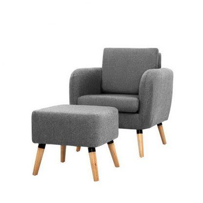 Artiss Lounge Chair Armchair with Ottoman Tub Accent Sofa Linen Fabric Grey
