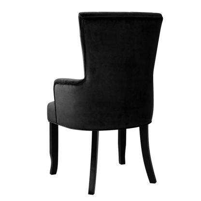 Artiss Dining Chairs French Provincial Chair Velvet Fabric Timber Retro Black