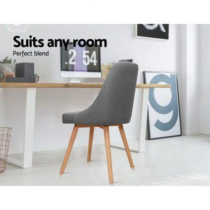 Artiss 2x Replica Dining Chairs Beech Wooden Timber Chair Kitchen Fabric Grey