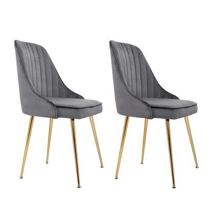 Artiss Dining Chairs Retro Chair Cafe Kitchen Modern Iron Legs Velvet Grey x2