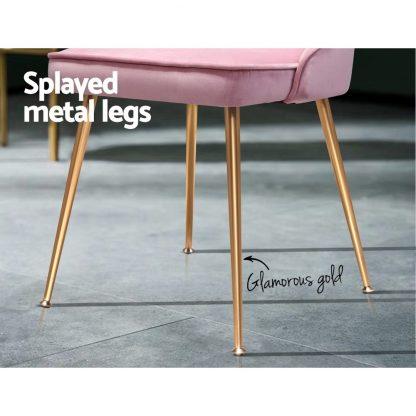 Artiss Dining Chairs Retro Chair Cafe Kitchen Modern Iron Legs Velvet Pink x2