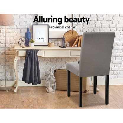 Artiss x2 DONA Dining Chair Fabric Foam Padded High Back Wooden Kitchen Grey
