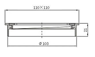 Square Black Floor Grate Drain 110 mm Full Brass Construction