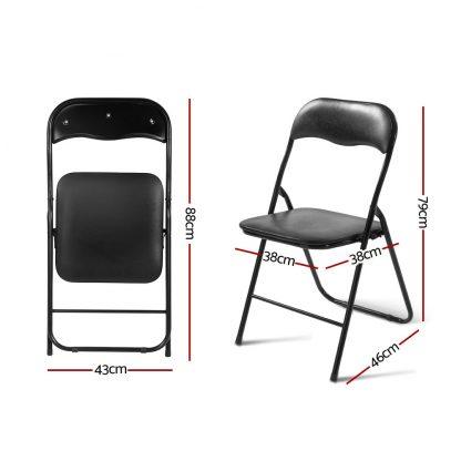 Artiss 6x Portable Vinyl Folding Chair Padded Seat Steel Frame Black 6 Pack