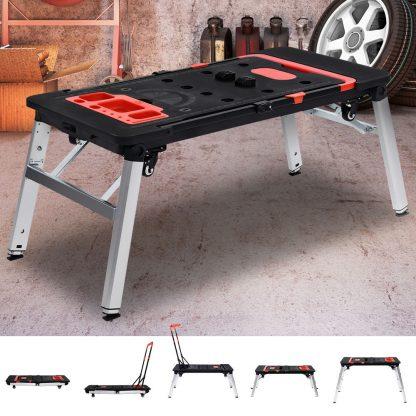 7in1 Work Bench Platform Station Workbench Hand Truck Trolley Sawhorse Creeper Black