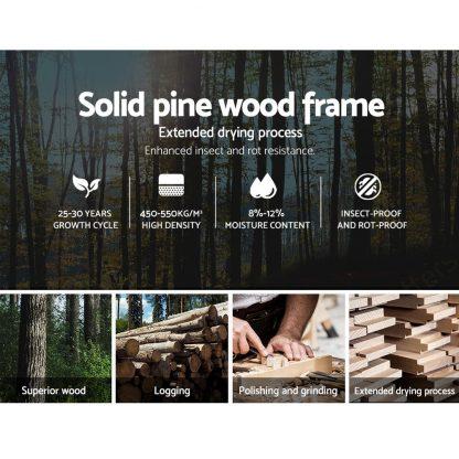Artiss King Single Size Wooden Bed Frame Mattress Base Timber Platform White