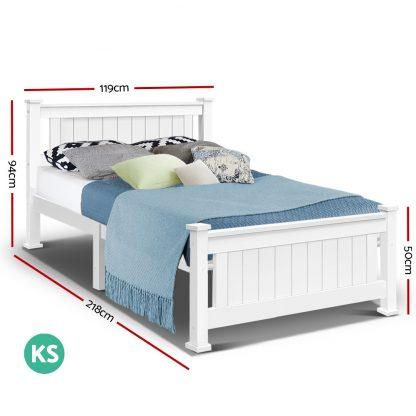 King Single Wooden Bed Frame - White